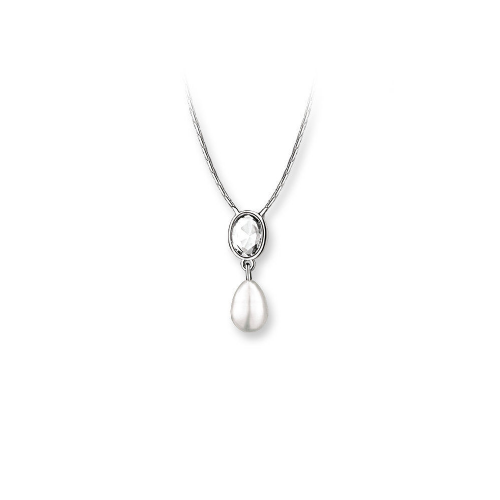 Newbridge Silverware Grace Kelly Drop Pearl Pendant with Clear Stone